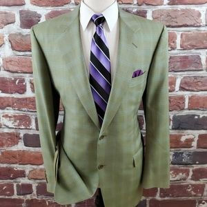 Canali Men's  2 Btn Sportcoat Green Plaid Sz 44 L